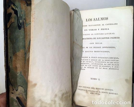 Libros antiguos: Los Salmos, traducidos nuevamente al castellano en verso y prosa... 1819. Plena piel - Foto 3 - 236067385