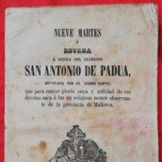 Libros antiguos: NUEVE MARTES O NOVENA A SAN ANTONIO DE PADUA - 1865 - EL MISMO SANTO - IMP.V.DE VILLALONGA , PALMA. Lote 239840970