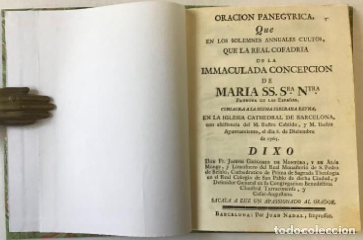 ORACION PANEGYRICA, QUE EN LOS SOLEMNES ANNUALES CULTOS QUE LA REAL COFRADIA DE LA IMMACULADA... (Libros Antiguos, Raros y Curiosos - Religión)