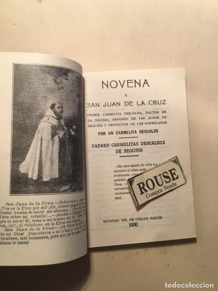 Libros antiguos: NOVENA A SAN JUAN DE LA CRUZ - (CD) 1930 SEGOVIA TIP. DE CARLOS MARTIN - 88 PAG. 12X8,5 CM. - Foto 2 - 243634660