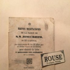 Libros antiguos: NOVENA - BREVES MEDITACIONES DE LA PASION DE N.S. JESUCRISTO EN 33 CUARTETAS 1865 EN REVERENCIA DE L. Lote 243637195