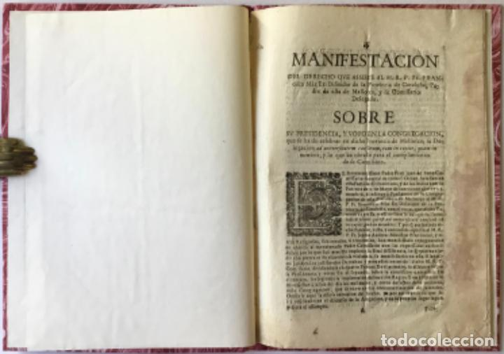 MANIFESTACION DEL DERECHO QUE ASSISTE AL M.R.P.FR. FRANCISCO MÁS EX-DEFINIDOR DE LA PROVINCIA DE... (Libros Antiguos, Raros y Curiosos - Religión)
