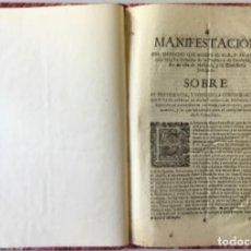 Libros antiguos: MANIFESTACION DEL DERECHO QUE ASSISTE AL M.R.P.FR. FRANCISCO MÁS EX-DEFINIDOR DE LA PROVINCIA DE.... Lote 243981045