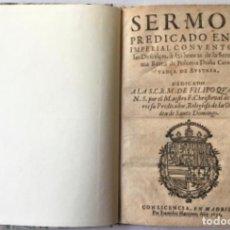 Libros antiguos: SERMON PREDICADO EN EL IMPERIAL CONVENTO DE LAS DESCALÇAS, A LAS HONRAS DE LA SERENISIMA REINA DE PO. Lote 123253591