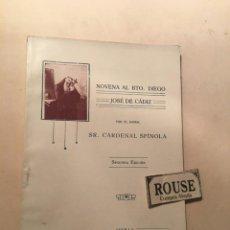 Libros antiguos: NOVENA AL BEATO DIEGO JOSE DE CADIZ POR EL EXMO. SR. CARDENAL SPINOLA - SEVILLA 1919 IMP. DE LA DIVI. Lote 244555305