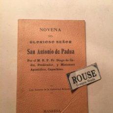 Libros antiguos: NOVENA ANGELICA EN HONOR DE SANT ANTONI DE PADUA PER FR. PELEGRI DE MATARÓ 2ª EDC. IGUALADA ''OBRA F. Lote 244579430