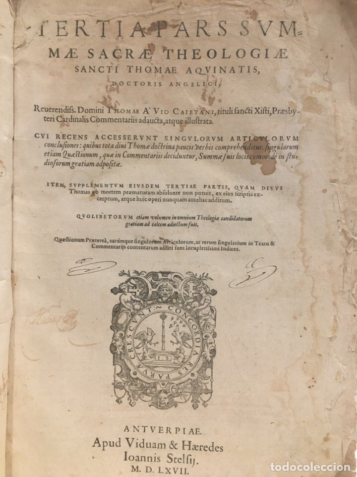 AÑO 1567 - SANTO TOMAS DE AQUINO - 32 X 22CM (Libros Antiguos, Raros y Curiosos - Religión)