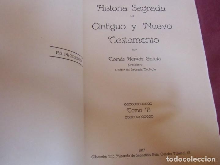 Libros antiguos: HISTORIA DEL ANTIGUO TESTAMENTO/TOMAS HERVAS/ALBACETE,1916-T.2.DEDICADO A STMA.CRUZ DE CARAVACA.RARO - Foto 4 - 252949880