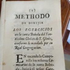 Libros antiguos: METIDO DE DIRIJIR LOS EGERCICIOS DE LA SANTA BOBEVA DEL SANTÍSIMO CRISTO DE SAN GINÉS MADRID. Lote 253155800