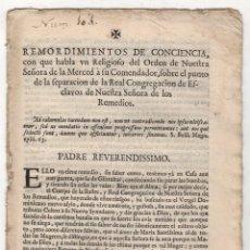 Livres anciens: REMORDIMIENTOS DE CONCIENCIA DE UN RELIGIOSO DE NUESTRA SEÑORA DE LA MERCED. ALCALA, 1727. Lote 253263140