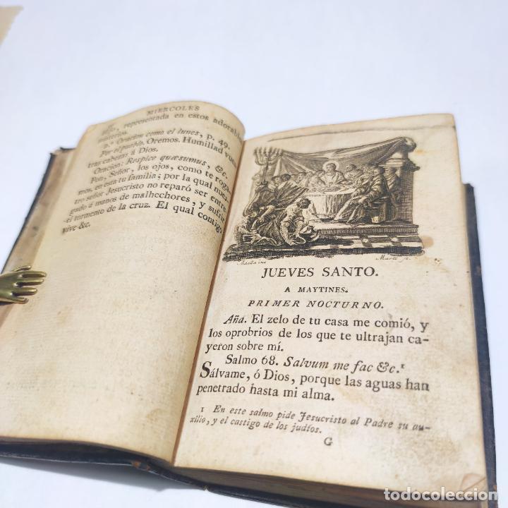 Libros antiguos: Antigua obra religiosa sobre la semana santa. Siglo XVIII. Grabados. 511 páginas. - Foto 7 - 253894015