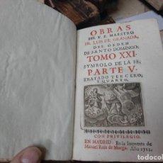 Libros antiguos: OBRAS DE FRAY LUIS DE GRANADA DEL ORDEN DE SANTO DOMINGO. 1711. (TOMO XXI). Lote 254728815