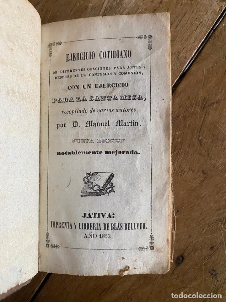 Libros antiguos: Libro Ejercicio Cotidiano Oraciones Confesión Comunión para la Santa Misa- 1852 - Foto 3 - 259755825