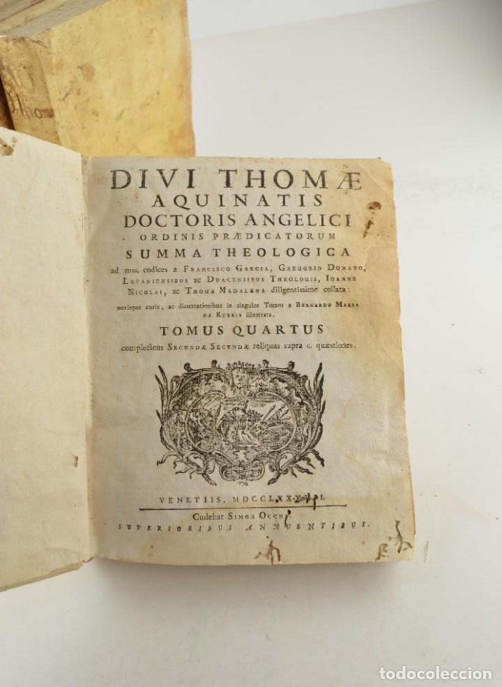 Libros antiguos: Divi Thomae Aquinatis Doctoris Angelici, 4 tomos, 1787, Simon Occhi, Venetiis. 23,5x19cm - Foto 8 - 260828500