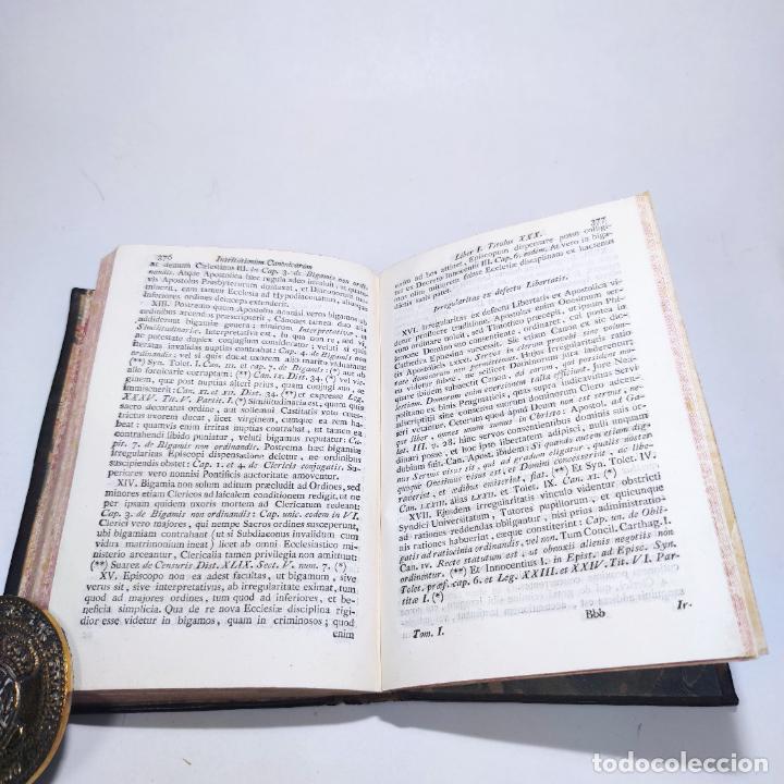 Libros antiguos: Institutionum canonicarum. Libri tres ad usum seminarii neapolitani: Julio Laurentio Selvagui. 1784. - Foto 7 - 265844554