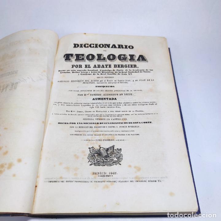 Libros antiguos: Diccionario de teología. Por el abate Bergier. 4 tomos. Madrid. 1847. Imp. Don Primitivo Fuentes. - Foto 5 - 265845699