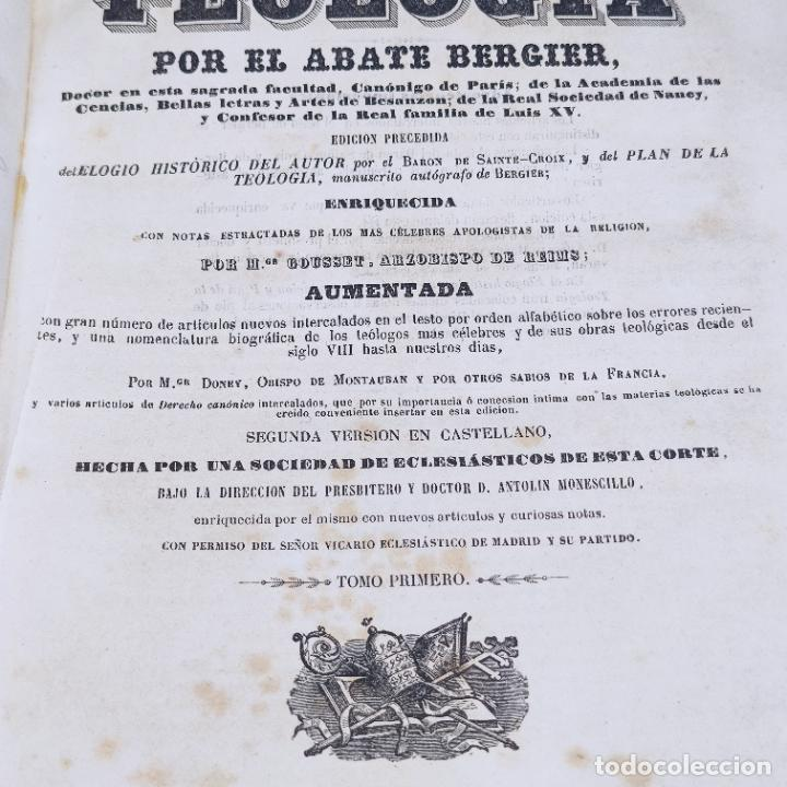 Libros antiguos: Diccionario de teología. Por el abate Bergier. 4 tomos. Madrid. 1847. Imp. Don Primitivo Fuentes. - Foto 7 - 265845699