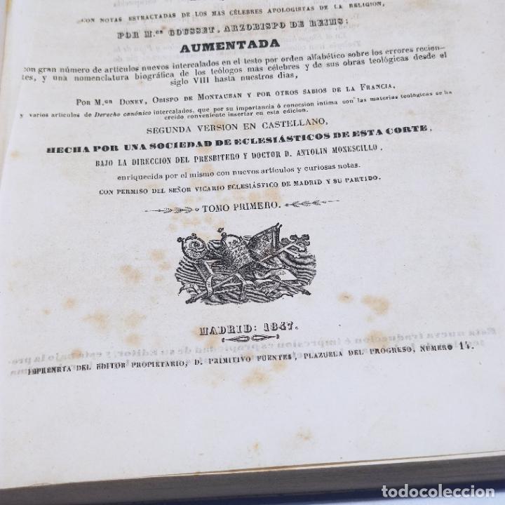 Libros antiguos: Diccionario de teología. Por el abate Bergier. 4 tomos. Madrid. 1847. Imp. Don Primitivo Fuentes. - Foto 8 - 265845699
