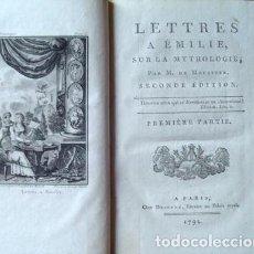 Libros antiguos: LETTRES A EMILIE SUR LA MYTHOLOGIE, TRES TOMOS, 1792. M. DE MOUSTIER. 16 GRABADOS. Lote 266709143
