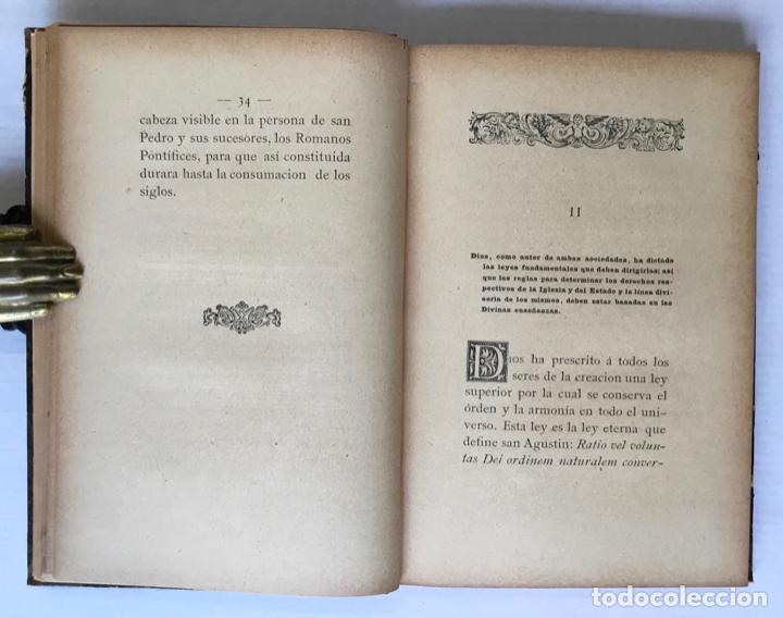 Libros antiguos: LA IGLESIA Y EL ESTADO. Reglas para trazar la línea divisoria entre sus derechos é intereses. - BRUG - Foto 4 - 123168180