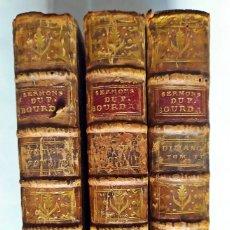Libros antiguos: AÑO 1726: SERMONES DE BOURDALOUE. 3 ELEGANTES TOMOS DEL SIGLO XVIII. CASI 300 AÑOS DE ANTIGÜEDAD.. Lote 268916714