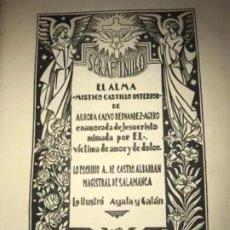 Libros antiguos: ANTIGUO LIBRO SERAFINILLO VÍCTIMA DE AMOR Y DOLOR A DE CASTRO ALBARRÁN 1935 SALAMANCA. Lote 269401448