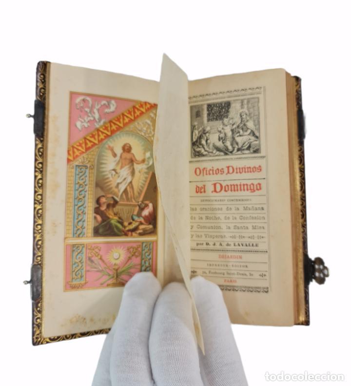 OFICIOS DIVINOS PARA LOS DOMINGOS. LAVALLE. SXIX. METAL CALADO PLATEADO Y DORADO.. (Libros Antiguos, Raros y Curiosos - Religión)