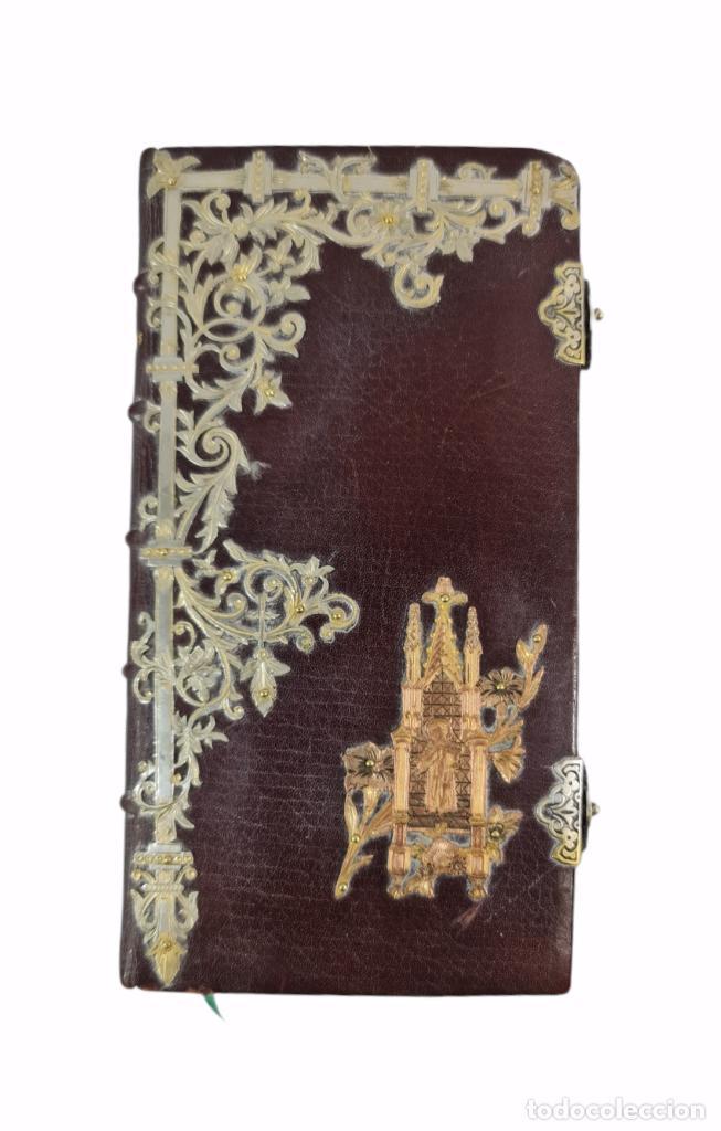 Libros antiguos: Oficios divinos para los domingos. Lavalle. SXIX. Metal calado plateado y dorado.. - Foto 2 - 270130858