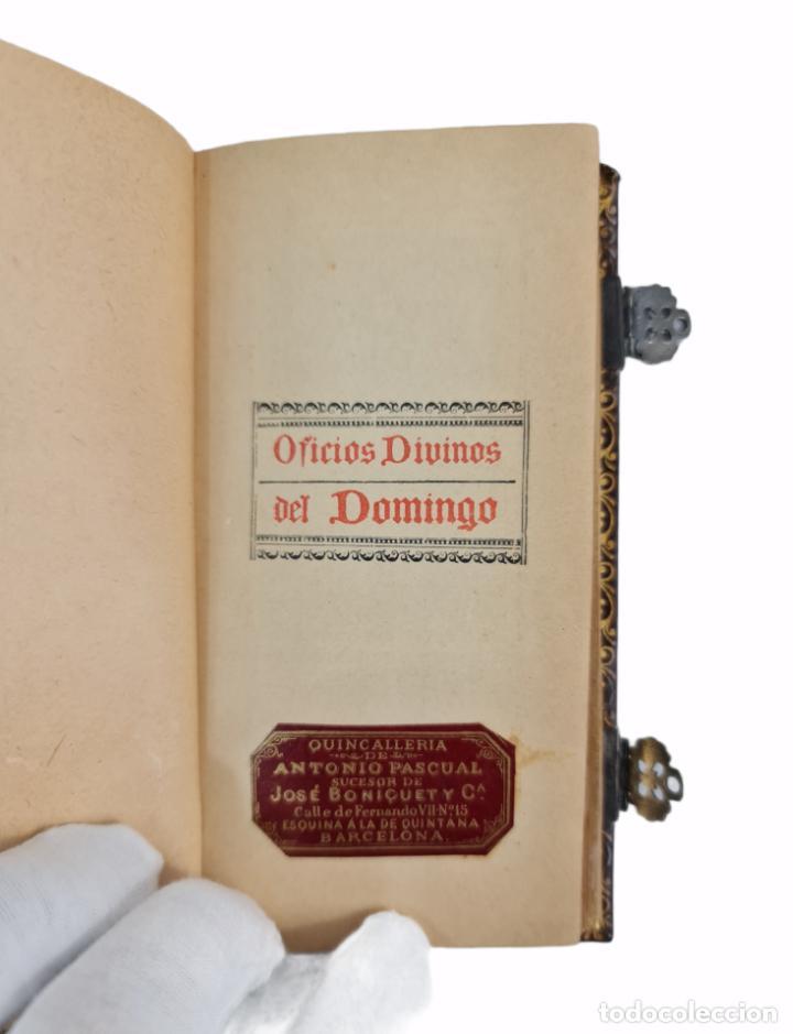 Libros antiguos: Oficios divinos para los domingos. Lavalle. SXIX. Metal calado plateado y dorado.. - Foto 4 - 270130858