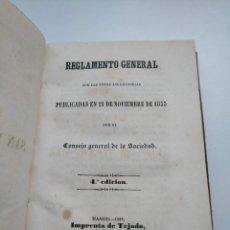 Libros antiguos: SOCIEDAD DE SAN VICENTE DE PAÚL: REGLAMENTO GENERAL (1858). Lote 271679503