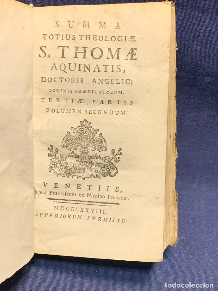 LIBRO SUMMA THEOLOGIE S. THOMAE VOL 2 VENETIIS 1778 VENECIA SUMA TEOLOGICA SANTO TOMAS AQUINO 17X10C (Libros Antiguos, Raros y Curiosos - Religión)