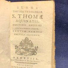 Libros antiguos: LIBRO SUMMA THEOLOGIE S. THOMAE VOL 2 VENETIIS 1778 VENECIA SUMA TEOLOGICA SANTO TOMAS AQUINO 17X10C. Lote 276564688