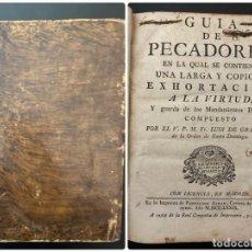 Libros antiguos: GUIA DE PECADORES. V.P.M.FR. LUIS DE GRANADA. IMPRENTA PANTALEON. AÑO 1759. PAGS: 477. Lote 277089098