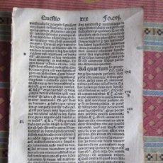 Libri antichi: 1493-SANTO TOMÁS DE AQUINO. SUMMA TEOLÓGICA. INCUNABULA INCUNABLE.HOJA ORIGINAL. CVI. Lote 280705363