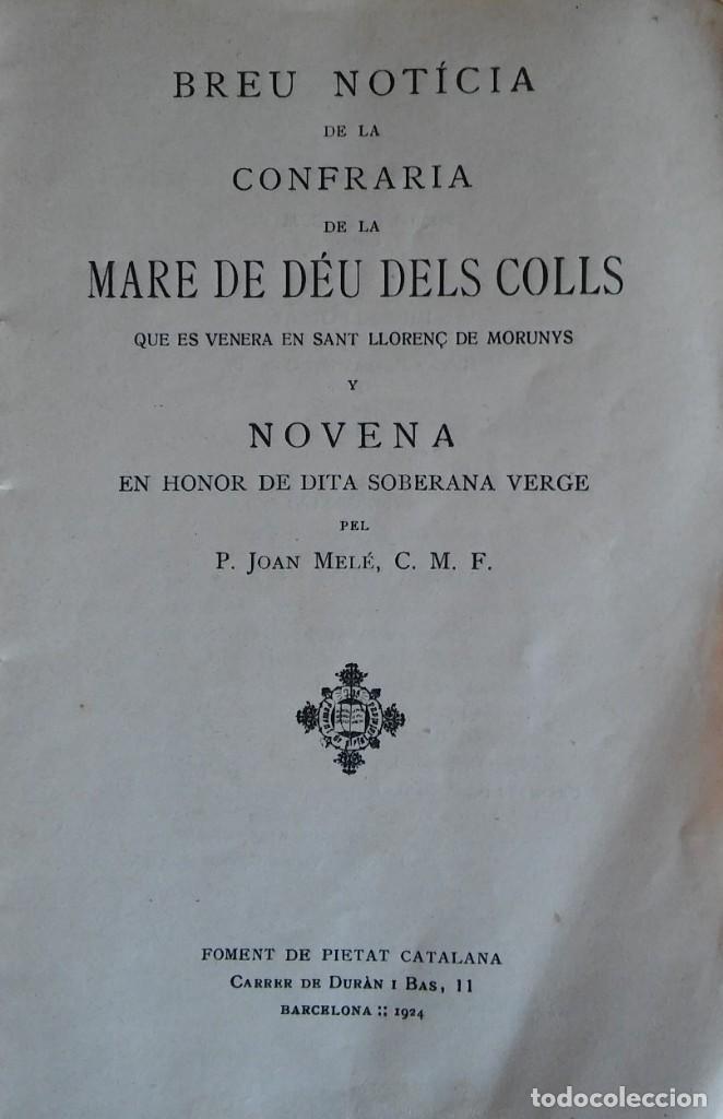 Libros antiguos: La Mare de Déu dels Colls. 1924. Sant Llorenç de Morunys. - Foto 2 - 285695033