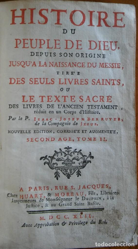 Libros antiguos: Historia del pueblo de Dios, Berruyer. París, 1742-43. Tomos 2, 5, 7 y 10 de la obra. - Foto 2 - 286154933