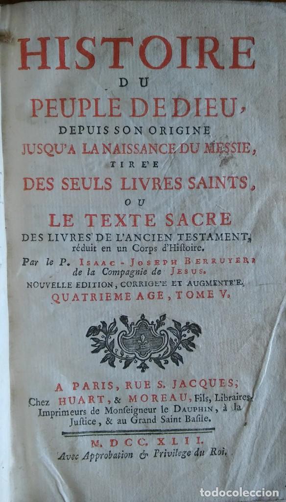 Libros antiguos: Historia del pueblo de Dios, Berruyer. París, 1742-43. Tomos 2, 5, 7 y 10 de la obra. - Foto 4 - 286154933