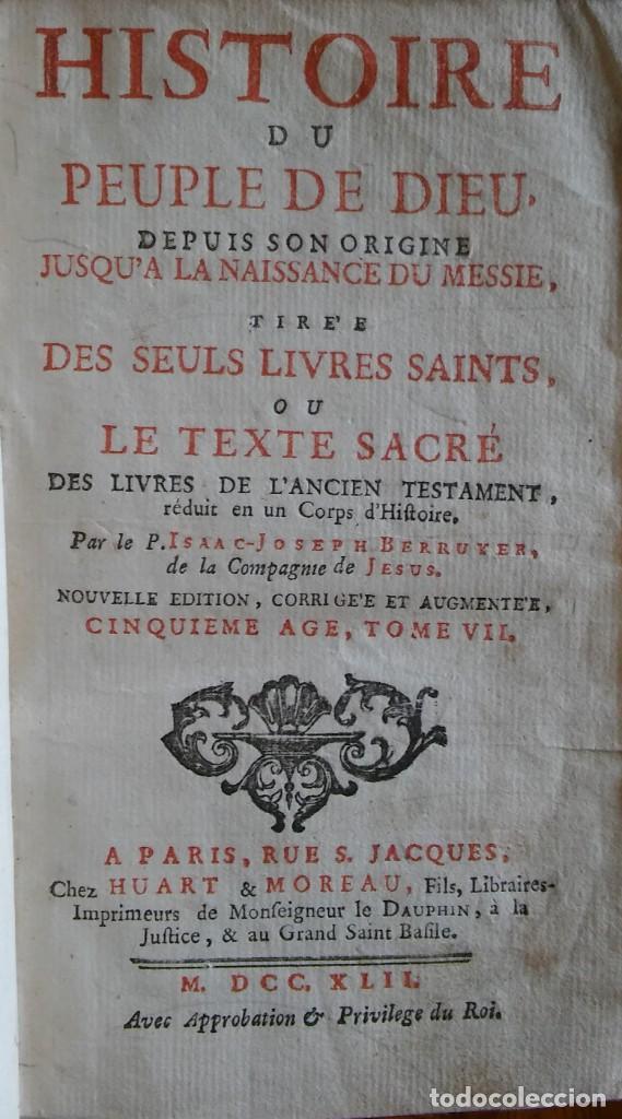 Libros antiguos: Historia del pueblo de Dios, Berruyer. París, 1742-43. Tomos 2, 5, 7 y 10 de la obra. - Foto 6 - 286154933
