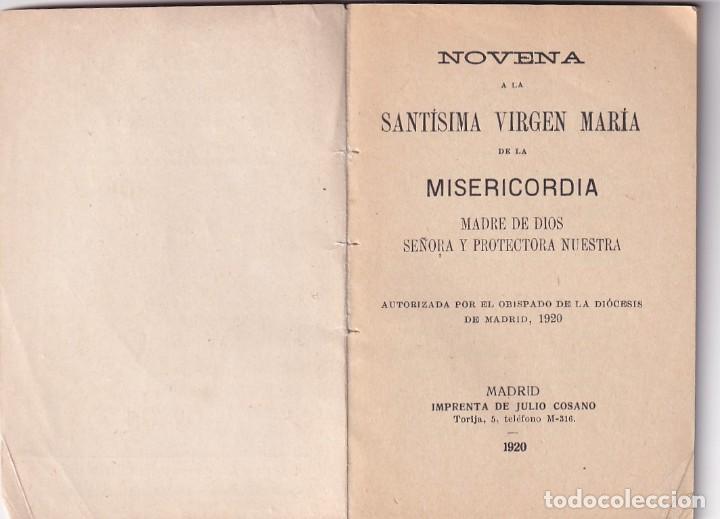 Libros antiguos: Novena Nuestra Señora de la Misericordia. Madrid 1920 - Foto 2 - 286237668