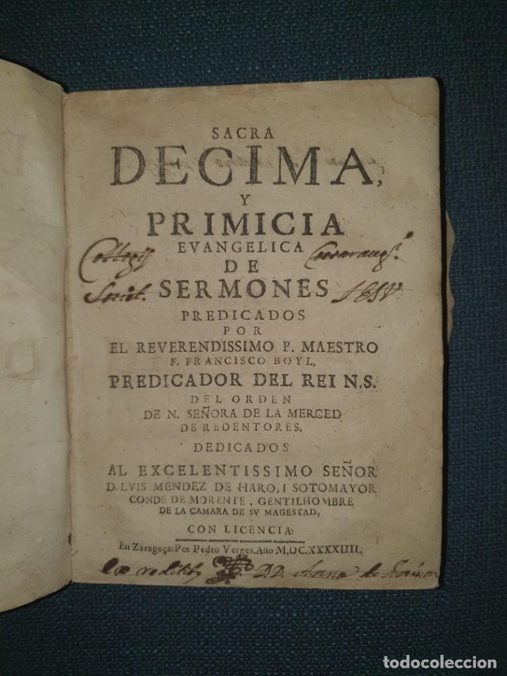 1644. ZARAGOZA. INQUISICION. SACRA DÉCIMA DEL PADRE BOYL. (Libros Antiguos, Raros y Curiosos - Religión)
