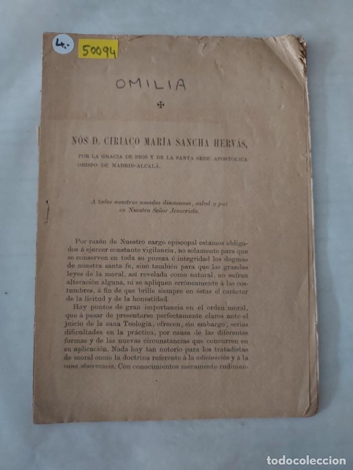 50094 - OMILIA , NOS D. CIRIACO MARIA SANCHA HERVAS - 19 DE MARZO DE 1888 (Libros Antiguos, Raros y Curiosos - Religión)