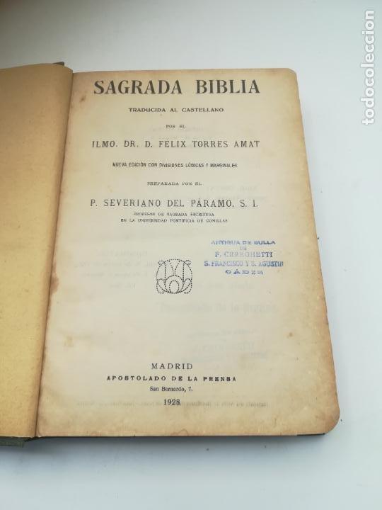SAGRADA BIBLIA. FELIX TORRES AMAT. DIVISIONES PREPARADAS POR SEVERIANO DEL PÁRAMO. 1928. MADRID (Libros Antiguos, Raros y Curiosos - Religión)