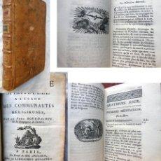 Libros antiguos: RETRAITE SPIRITUELLE A L'USAGE DES COMMUNAUTES RELIGIEUSES. 1777 BORDALUE. Lote 289715893