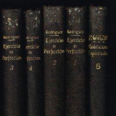 Libros antiguos: EJERCICIO DE PERFECCION Y VIRTUDES CRISTIANAS (5 TOMOS) - PADRE ALONSO RODRIGUEZ - 1907 Y 1910. Lote 296799983