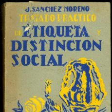 Libros antiguos: TRATADO PRACTICO DE ETIQUETA Y DISTINCION SOCIAL POR J. SANCHEZ MORENO. Lote 21276599