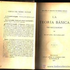 Libros antiguos: LA TEORÍA BÁSICA (BIO-SOCIOLOGÍA). (2 TOMOS). RAFAEL SALILLAS. . Lote 26188360
