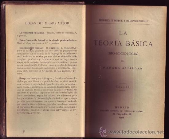 Libros antiguos: La Teoría básica (bio-sociología). (2 tomos). Rafael Salillas. - Foto 2 - 26188360