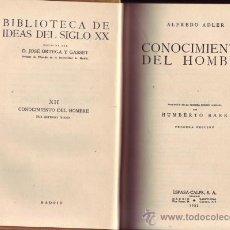 Libros antiguos: CONOCIMIENTO DEL HOMBRE. ALFREDO ADLER. . Lote 27726602
