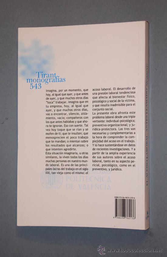 Libros antiguos: EL ACOSO LABORAL ANTES LLAMADO MOBBING, TIRANT LO BLANC, VALENCIA 2008. - Foto 2 - 30447074