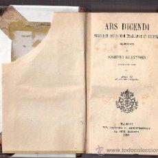 Libros antiguos: ARS DICENDI PRISCORUM POTISSIMUM PRAECEPTIS ET EXEMPLIS.ORATORIA.JOSEPHO KLEUTGEN.TAURINI 1892.. Lote 35652651